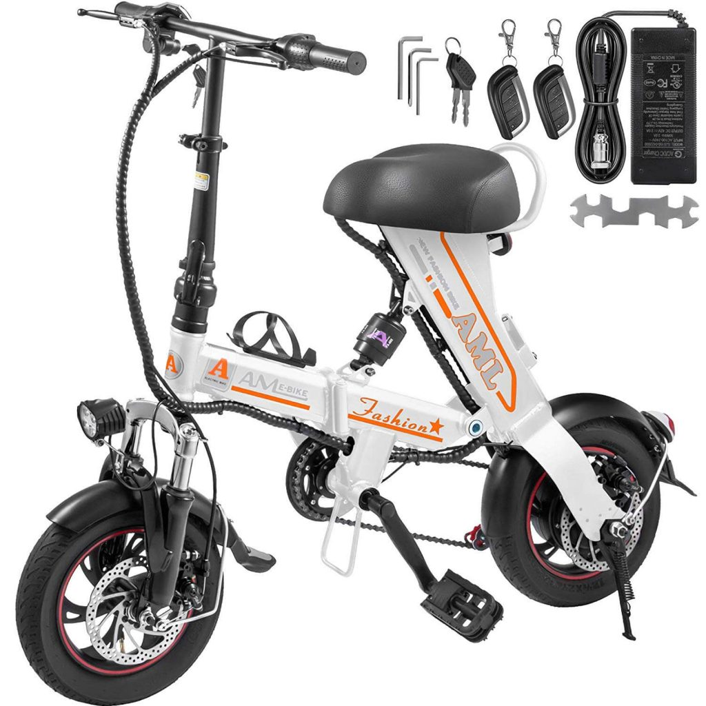 Mophorn 12 inch Foldable Mini E-Bike with Basket